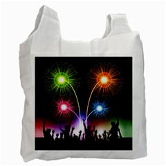 Happy New Year 2017 Celebration Animated 3d Recycle Bag (one Side)