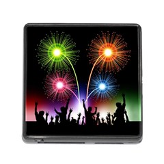Happy New Year 2017 Celebration Animated 3d Memory Card Reader (square)