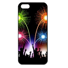 Happy New Year 2017 Celebration Animated 3d Apple Iphone 5 Seamless Case (black)