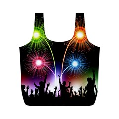 Happy New Year 2017 Celebration Animated 3d Full Print Recycle Bags (m)