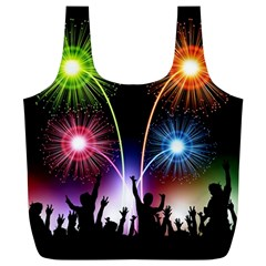 Happy New Year 2017 Celebration Animated 3d Full Print Recycle Bags (l)