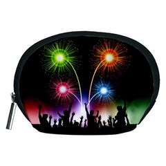 Happy New Year 2017 Celebration Animated 3d Accessory Pouches (medium)