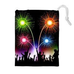Happy New Year 2017 Celebration Animated 3d Drawstring Pouches (extra Large)