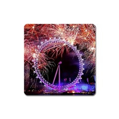 Happy New Year Clock Time Fireworks Pictures Square Magnet