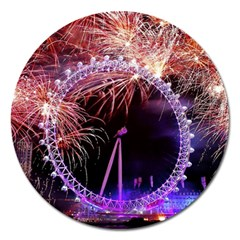 Happy New Year Clock Time Fireworks Pictures Magnet 5  (round)