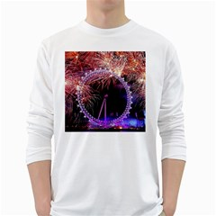 Happy New Year Clock Time Fireworks Pictures White Long Sleeve T Shirts