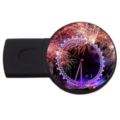 Happy New Year Clock Time Fireworks Pictures Usb Flash Drive Round (4 Gb)
