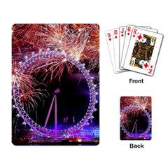 Happy New Year Clock Time Fireworks Pictures Playing Card