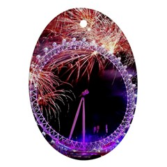 Happy New Year Clock Time Fireworks Pictures Oval Ornament (two Sides)