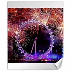 Happy New Year Clock Time Fireworks Pictures Canvas 16  X 20