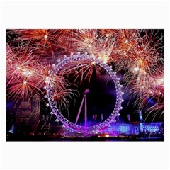 Happy New Year Clock Time Fireworks Pictures Large Glasses Cloth (2 Side)
