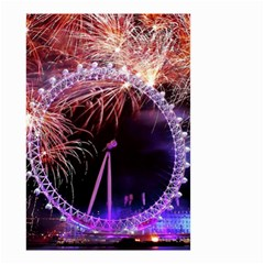 Happy New Year Clock Time Fireworks Pictures Small Garden Flag (two Sides)