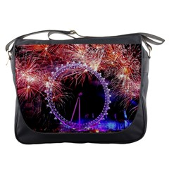 Happy New Year Clock Time Fireworks Pictures Messenger Bags