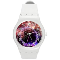 Happy New Year Clock Time Fireworks Pictures Round Plastic Sport Watch (m)