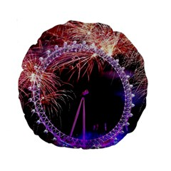 Happy New Year Clock Time Fireworks Pictures Standard 15  Premium Round Cushions