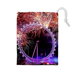 Happy New Year Clock Time Fireworks Pictures Drawstring Pouches (large)