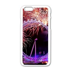 Happy New Year Clock Time Fireworks Pictures Apple Iphone 6/6s White Enamel Case