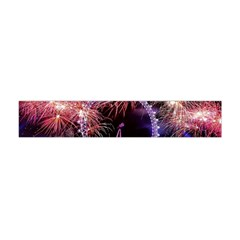 Happy New Year Clock Time Fireworks Pictures Flano Scarf (Mini)