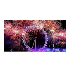 Happy New Year Clock Time Fireworks Pictures Satin Wrap