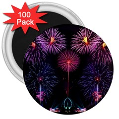 Happy New Year New Years Eve Fireworks In Australia 3  Magnets (100 Pack)