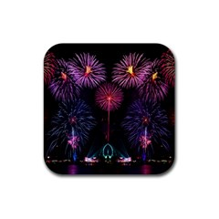 Happy New Year New Years Eve Fireworks In Australia Rubber Square Coaster (4 Pack)