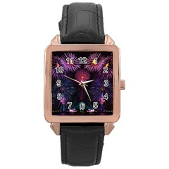 Happy New Year New Years Eve Fireworks In Australia Rose Gold Leather Watch
