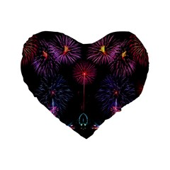 Happy New Year New Years Eve Fireworks In Australia Standard 16  Premium Flano Heart Shape Cushions