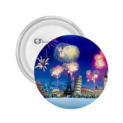 Happy New Year Celebration Of The New Year Landmarks Of The Most Famous Cities Around The World Fire 2 25  Buttons