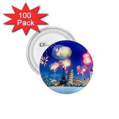 Happy New Year Celebration Of The New Year Landmarks Of The Most Famous Cities Around The World Fire 1 75  Buttons (100 Pack)