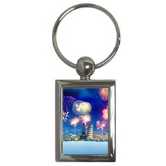 Happy New Year Celebration Of The New Year Landmarks Of The Most Famous Cities Around The World Fire Key Chains (rectangle)