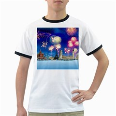 Happy New Year Celebration Of The New Year Landmarks Of The Most Famous Cities Around The World Fire Ringer T Shirts