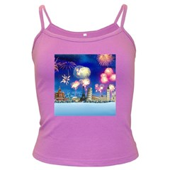 Happy New Year Celebration Of The New Year Landmarks Of The Most Famous Cities Around The World Fire Dark Spaghetti Tank