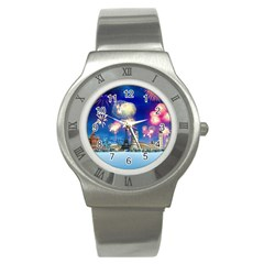 Happy New Year Celebration Of The New Year Landmarks Of The Most Famous Cities Around The World Fire Stainless Steel Watch