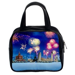 Happy New Year Celebration Of The New Year Landmarks Of The Most Famous Cities Around The World Fire Classic Handbags (2 Sides)