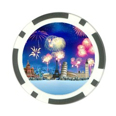 Happy New Year Celebration Of The New Year Landmarks Of The Most Famous Cities Around The World Fire Poker Chip Card Guard (10 Pack)