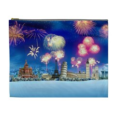 Happy New Year Celebration Of The New Year Landmarks Of The Most Famous Cities Around The World Fire Cosmetic Bag (xl)