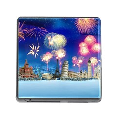 Happy New Year Celebration Of The New Year Landmarks Of The Most Famous Cities Around The World Fire Memory Card Reader (square)