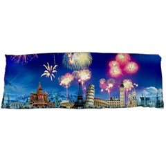 Happy New Year Celebration Of The New Year Landmarks Of The Most Famous Cities Around The World Fire Body Pillow Case Dakimakura (two Sides)
