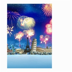 Happy New Year Celebration Of The New Year Landmarks Of The Most Famous Cities Around The World Fire Small Garden Flag (two Sides)