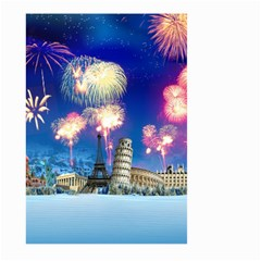 Happy New Year Celebration Of The New Year Landmarks Of The Most Famous Cities Around The World Fire Large Garden Flag (two Sides)