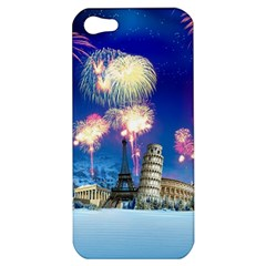 Happy New Year Celebration Of The New Year Landmarks Of The Most Famous Cities Around The World Fire Apple Iphone 5 Hardshell Case