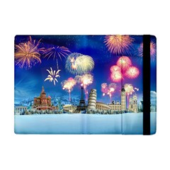 Happy New Year Celebration Of The New Year Landmarks Of The Most Famous Cities Around The World Fire Apple Ipad Mini Flip Case