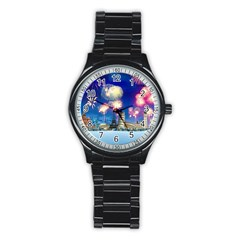 Happy New Year Celebration Of The New Year Landmarks Of The Most Famous Cities Around The World Fire Stainless Steel Round Watch