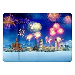 Happy New Year Celebration Of The New Year Landmarks Of The Most Famous Cities Around The World Fire Samsung Galaxy Tab 10 1  P7500 Flip Case