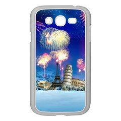 Happy New Year Celebration Of The New Year Landmarks Of The Most Famous Cities Around The World Fire Samsung Galaxy Grand Duos I9082 Case (white)