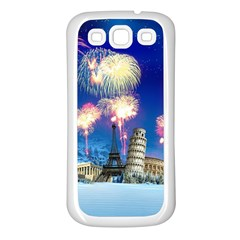 Happy New Year Celebration Of The New Year Landmarks Of The Most Famous Cities Around The World Fire Samsung Galaxy S3 Back Case (white)