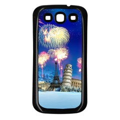 Happy New Year Celebration Of The New Year Landmarks Of The Most Famous Cities Around The World Fire Samsung Galaxy S3 Back Case (black)