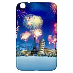 Happy New Year Celebration Of The New Year Landmarks Of The Most Famous Cities Around The World Fire Samsung Galaxy Tab 3 (8 ) T3100 Hardshell Case