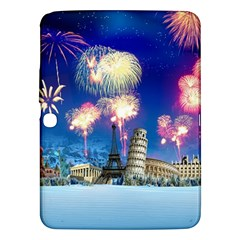 Happy New Year Celebration Of The New Year Landmarks Of The Most Famous Cities Around The World Fire Samsung Galaxy Tab 3 (10 1 ) P5200 Hardshell Case