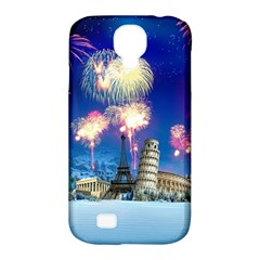 Happy New Year Celebration Of The New Year Landmarks Of The Most Famous Cities Around The World Fire Samsung Galaxy S4 Classic Hardshell Case (pc+silicone)